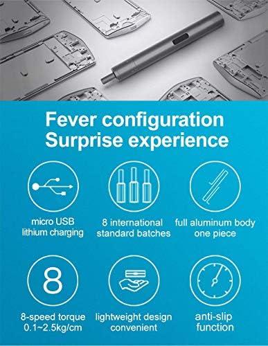 携帯電話を修理するための充電式電動スクリュードライバーミニタイプデュアルパワーモード/ドローン/腕時計/ナイフ/コンピュータ/エンジン (グレー)