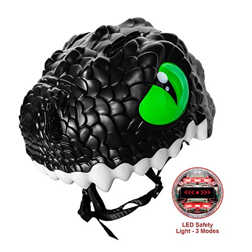 Nice C Kids Bike Helmet, Cycling, Skating, Scooter, Toddler Helmet, Multi-Sports Helmet, Adjustable,Girl Helmet, Boy Helmet, 3D (Black Alligator) ()