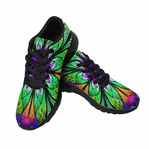 Interestprint Femmes Jogging Running Sneaker Léger Aller Facile Marche Confort Sport Chaussures De Course Multicolore Belle Fleur Fractal Multi 1