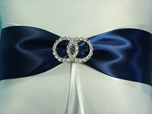 White Satin Infinity Ring Wedding Ring Bearer Pillow with Navy Blue Bridal Accent by Chone