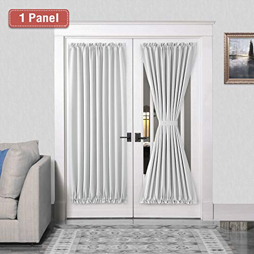 French Door Curtains - Rod Pocket Thermal Blackout Curtain for Doors with Glass Window, Kitchen and Patio Doors for Privacy, 54 X 72 Inches Long, 1 Curtain Panel with Tieback, White