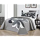 "3-Piece Fine printed Oversize (100"" X 95"") Quilt Set Reversible Bedspread Coverlet FULL / QUEEN SIZE Bed Cover (Black, Grey, White, Floral)"