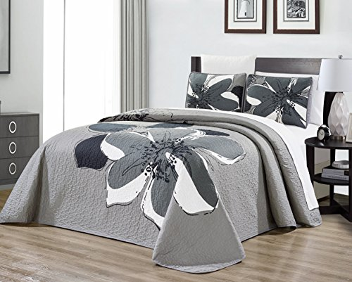 3-Piece Fine Printed (90″ X 88″) Quilt Set Reversible Bedspread Coverlet (Double) Full Size Bed Cover (Dark Grey, Grey, White Hibiscus Floral)