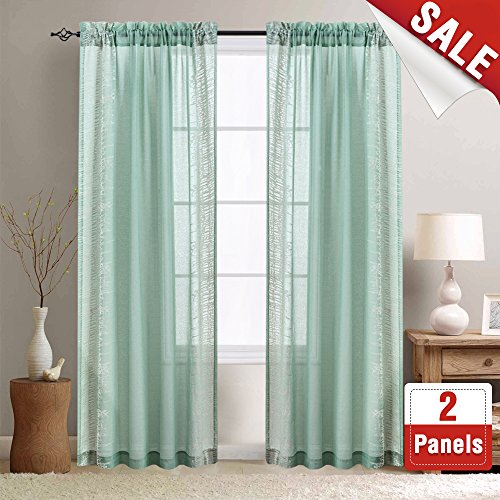 Sheer Curtains for Living Room 84 inch Window Curtain for Bedroom Tea Green Embroidery Voile Curtains 1 Panel