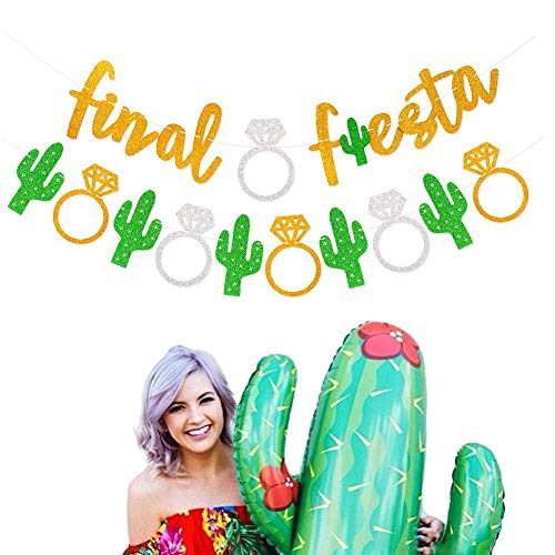 Mity Rain Final Fiesta Gold Glitter Banner Cactus Garland Bachelorette Bridal Shower for Mexican Fiesta Themed Wedding Decorations Set of 2