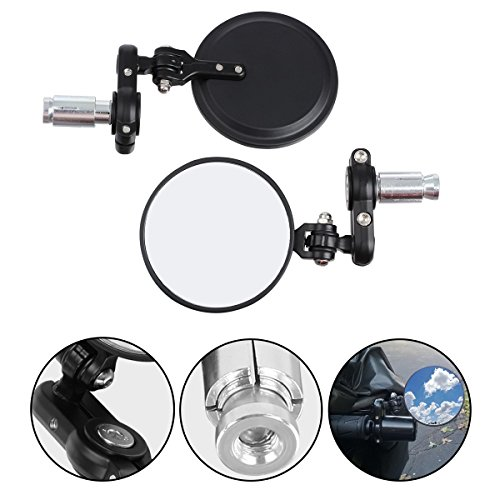 Handlebar End Mirror (Partsam Motorcycle Rear View Fodable Mirrors 3 inch Round Black Handlebar Bar End Convex 7/8