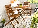 Balkonset Terassen Set Bistroset FSC Balkonmöbel 2x Klappsessel + 1x Tisch 70x70cm