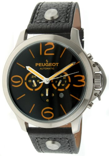 Peugeot Automatic MK912BKO Men's Silver Stainless Steel Multifunction Black Leather Watch ()
