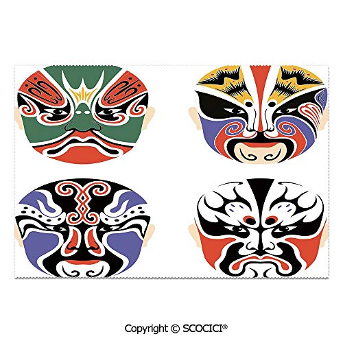 SCOCICI Set of 6 Heat Resistant Non-Slip Table Mats Placemats Traditional Chinese Cultural Opera Mask Set Collection Asian Tribal Decorative for Dining Kitchen Table Decor