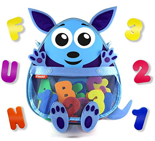 Kangaroo Bath Toy Organizer with Toys – Premium Mesh Bath Toy Storage Net + 36 Foam Bath Letters and Numbers + 2 Reusable Adhesives + Bonus E-Book - Cute, Fun, Educational - Available in Blue & Pink ()