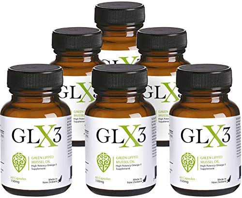 GLX3 6 Pack - Extra Strength Green Lipped Mussel Oil Capsules - Green Mussel New Zealand Oil & Joint Supplements - Natural No Fish Burp Oil - Arthritis Pain Relief & Joint Pain Relief - 60 Tablets (Best Green Lipped Mussel Supplement)