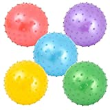 """Neliblu Sensory Knobby Bouncy Ball, Novelty Party Supplies Assorted Colors Toddlers Kids, Bulk 5 Pack, 10"""" Playground Balls Comes Deflated"""