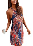 Happy Sailed Women Bohemian Summer Strappy African Print Beach Mini Coverups Dress,Medium Blue