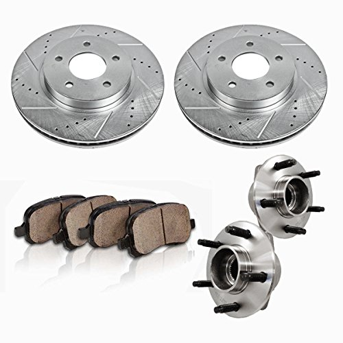 C513115X2DS [2] FRONT [ 5 Lug ] Wheel Hub Bearing Assemblies + Drilled/Slotted Rotors + Ceramic Brake Pads