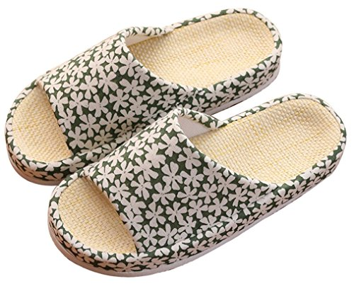 Blubi Womens Summer Stripes Flax Cozy House Slippers Cute Slippers Green OLYHdDQas8