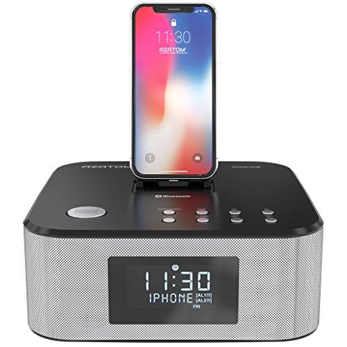 AZATOM Homehub Clock RADIO with Lightning Dock Alarm 30W Bluetooth for...