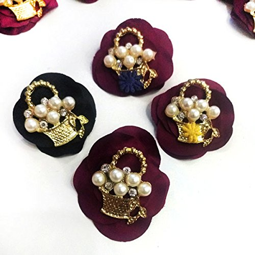 Motif burgundy and gold diamond pearl brooch baskets 1 part 2