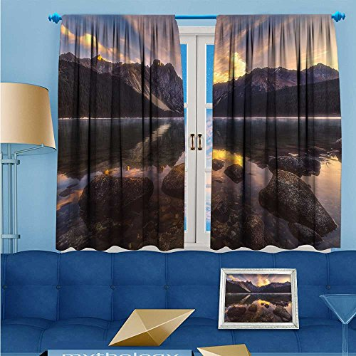 L-QNHOME Print Woven Sateen Window Curtain,Trench gully Panel Pair with Grommet Top, 72