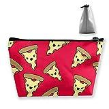 Portable Makeup Bag Pizza Pattern Cosmetic Handbag Storage Toiletry Zipper Holder