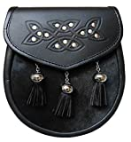 UT Kilts Semi Formal Faux Fur Leather Sporran with Tassels (Black)