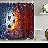 Shower Curtains Custom Decorative Soccer Ball On Fire Water Lightening Softball Art Pattern Design Waterproof Polyester Fabric Home Bathroom Decor Bath Curtain 72x72 Inches