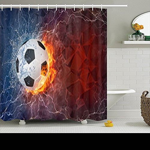 Shower Curtains Custom Decorative Soccer Ball On Fire Water Lightening Softball Art Pattern Design Waterproof Polyester Fabric Home Bathroom Decor Bath Curtain 72x72 Inches by HomeCOO