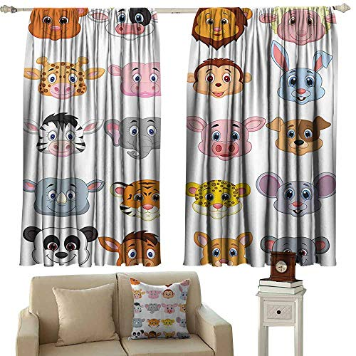 - Sliding Door Curtain,Cartoon Kids Decoration Baby Animals Lions Pigs Cows Farm Safari Baby Nursery Room Image,Rod Pocket Drapes Thermal Insulated Panels Home décor,W72x45L Inches,Multicolor