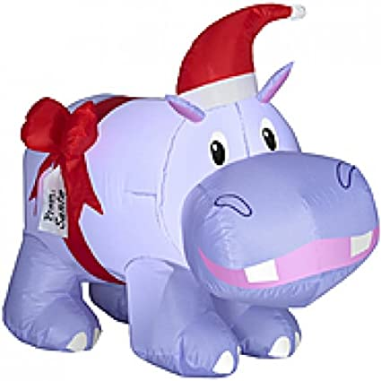 christmas inflatable 29 purple hippo w hat and bow outdoor holiday yard - Christmas Hippo Outdoor Decoration
