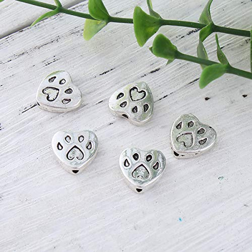 """PEPPERLONELY 50pc Antiqued Silver Alloy Beads Heart Bear Paw Print Charms Pendants 12x11mm(4/8"""" x 3/8"""")"""
