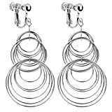 Native American Street Style Metal Circle Clip on Dangle Earrings Long Tassel Art Deco for Girls Women