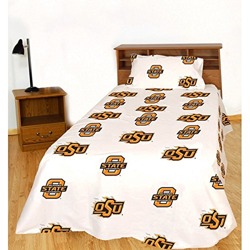 Oklahoma State Printed Sheet Set in White Size: Queen
