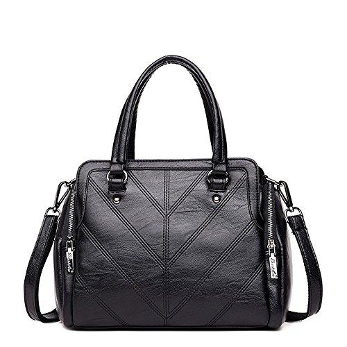 Meoaeo black Nueva Moda Bolso De Bolsos Cuero Claret RgARnT8xr
