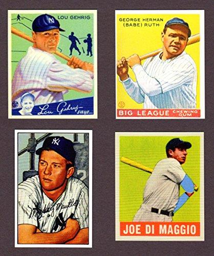 Babe Ruth, Lou Gehrig, Joe DiMaggio, Mickey Mantle (4) Card Reprint Baseball Lot #100 (New - Baseball Dimaggio Joe Cards