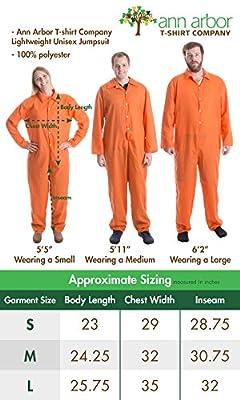Prisoner Jumpsuit | Orange Prison Inmate Halloween Costume Unisex Jail Criminal