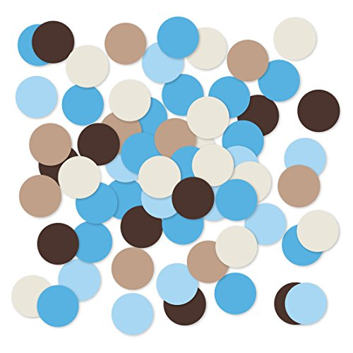 Andaz Press Large Confetti Party Table Decor, 1.5-inch Double-Sided, Teddy Bear Boy Baby Shower Collection, 180-Pack, Colored Birthday Graduation Wedding Decorations Supplies