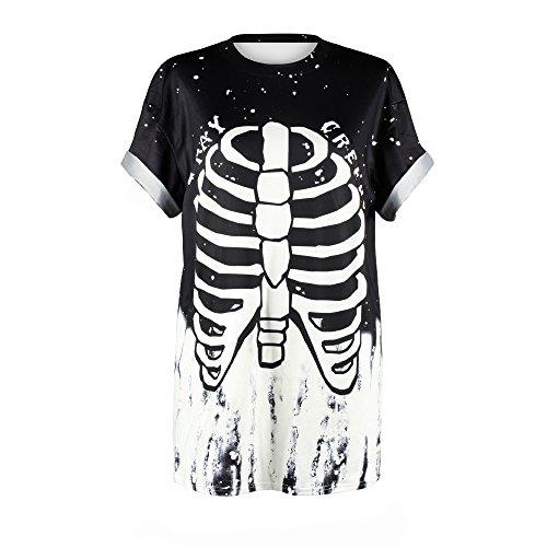 Plustrong Unisex UFO Alien Punk Street Short Sleeve T Shirts Casual Tops Tees (Skeleton 020, S/M)]()