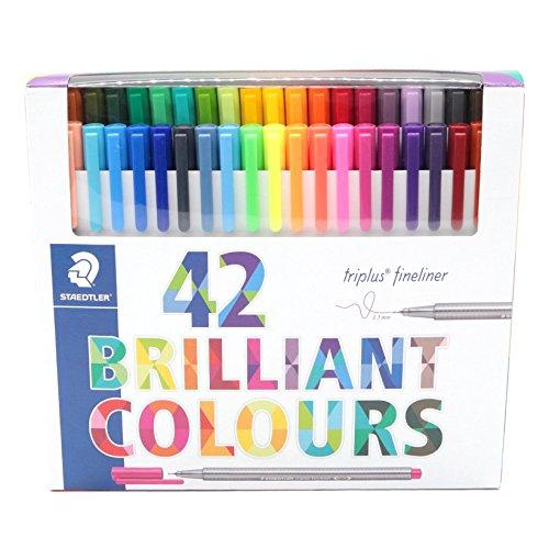Staedtler Color Pen Set, 334C42 Set of 42 Assorted Colors (Triplus Fineliner Pens) (Triplus Staedtler Colour)