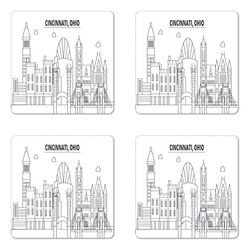 Ambesonne Cincinnati Coaster Set of Four, Geometric Drawn