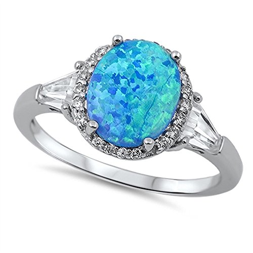 CloseoutWarehouse Oval Halo Blue Simulated Opal Ring Sterling Silver Size 6 ()
