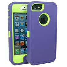Iphone5/5S Defender Body Armor Case Comparable to Otterbox Defender Series (purple/green)