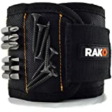 RAK Magnetic Wristband with Strong Magnets for Holding Screws, Nails, Drill Bits - Best Unique Valentine's Day Gift for Men, DIY Handyman, Father/Dad, Husband, Boyfriend, Him, Women (Black)