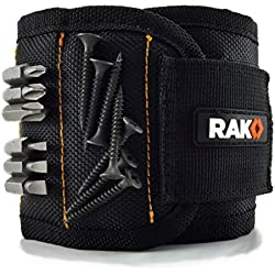 RAK Magnetic Wristband with Strong Magnets for Holding Screws, Nails, Drill Bits - Best Father's Day Gift for Men, DIY Handyman, Father/Dad, Husband, Boyfriend, Him, Women (Black)