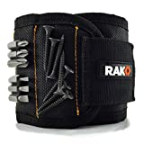 RAK Magnetic Wristband (V2) with Strong Magnets for Holding Screws, Nails, Drill Bits - Best Unique Tool Gift for DIY Handyman, Father/Dad, Husband, Boyfriend, Men, Women (Black)
