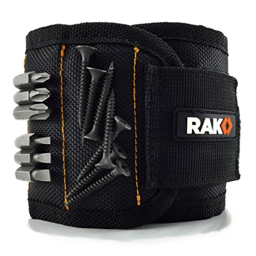 RAK Magnetic Wristband with Strong Magnets for Holding Screws, Nails, Drill Bits - Best Unique Tool Gift for DIY Handyman, Father/Dad, Husband, Boyfriend, Men, Women (Black)