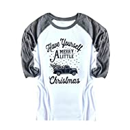 Nailyhome Vintage Holiday Unisex Funny Raglan T-Shirt Adult & Youth (XL, 02)