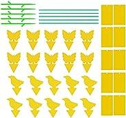 Queenser 24pcs Armadilha pegajosa amarela Inseto voador Pegajoso Gnat Catcher dupla face para moscas, pulgões,
