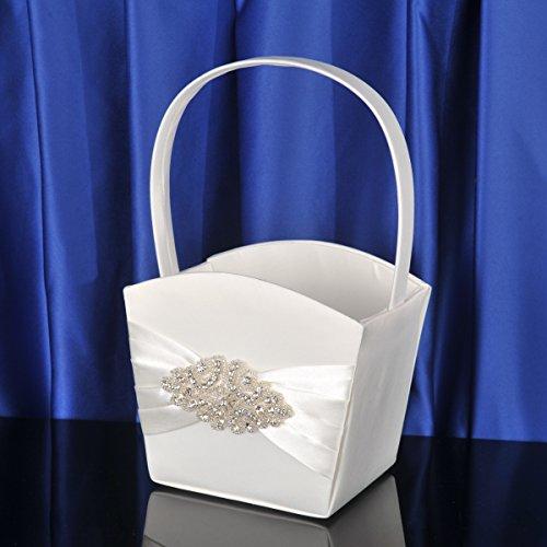 Topwedding Beaded Bow Beige Quadrate Wedding Flower Basket