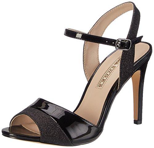 Buffalo Ladies 15s90-5 Glitter Metallic Pu Cinturino Alla Caviglia Nero (nero 01)