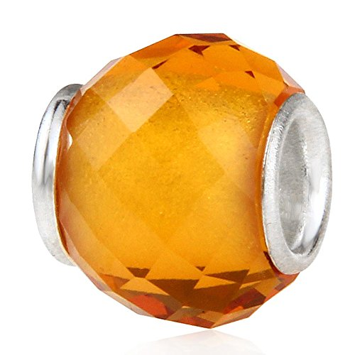 Glass Birthstone Charm with 925 Sterling Silver Core Birthday Charm Anniversary Charm for DIY Charm Bracelet - Yellow Bracelet Anniversary