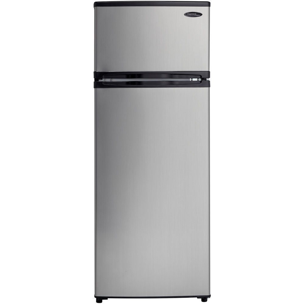 Designer 7.4 Cu. Ft. Refrigerator with Top-Mount Freezer, Spotless Steel/Black